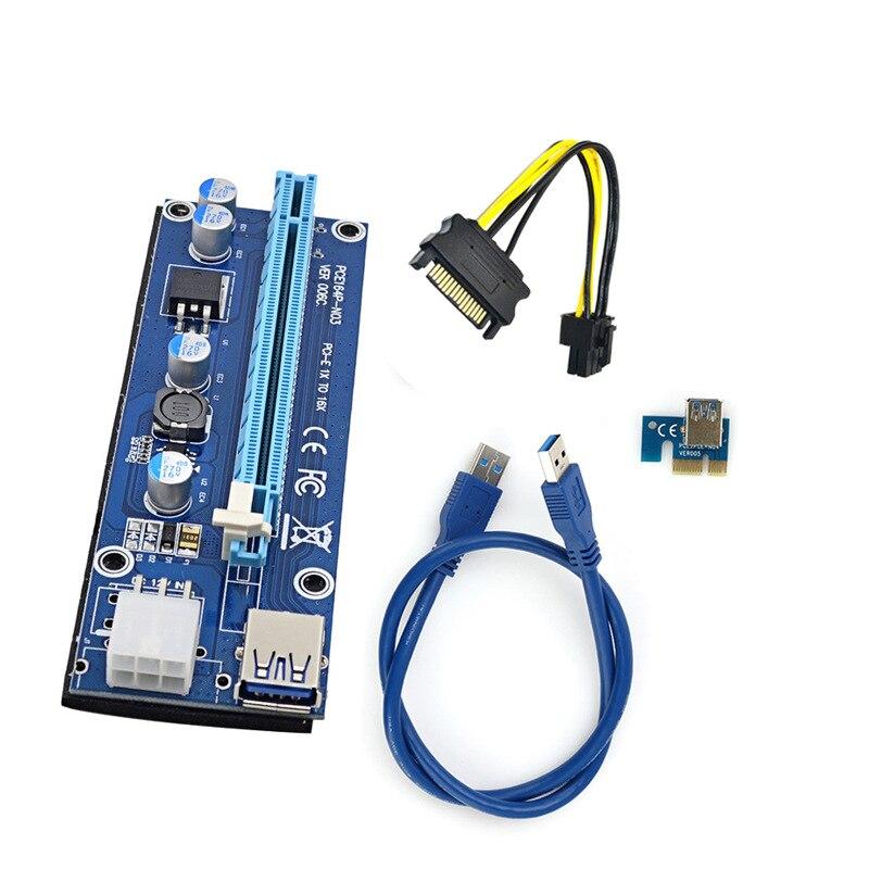 LOT USB 3.0 PCI-E Express 1x To 16x Extender Riser Card Adapter Power