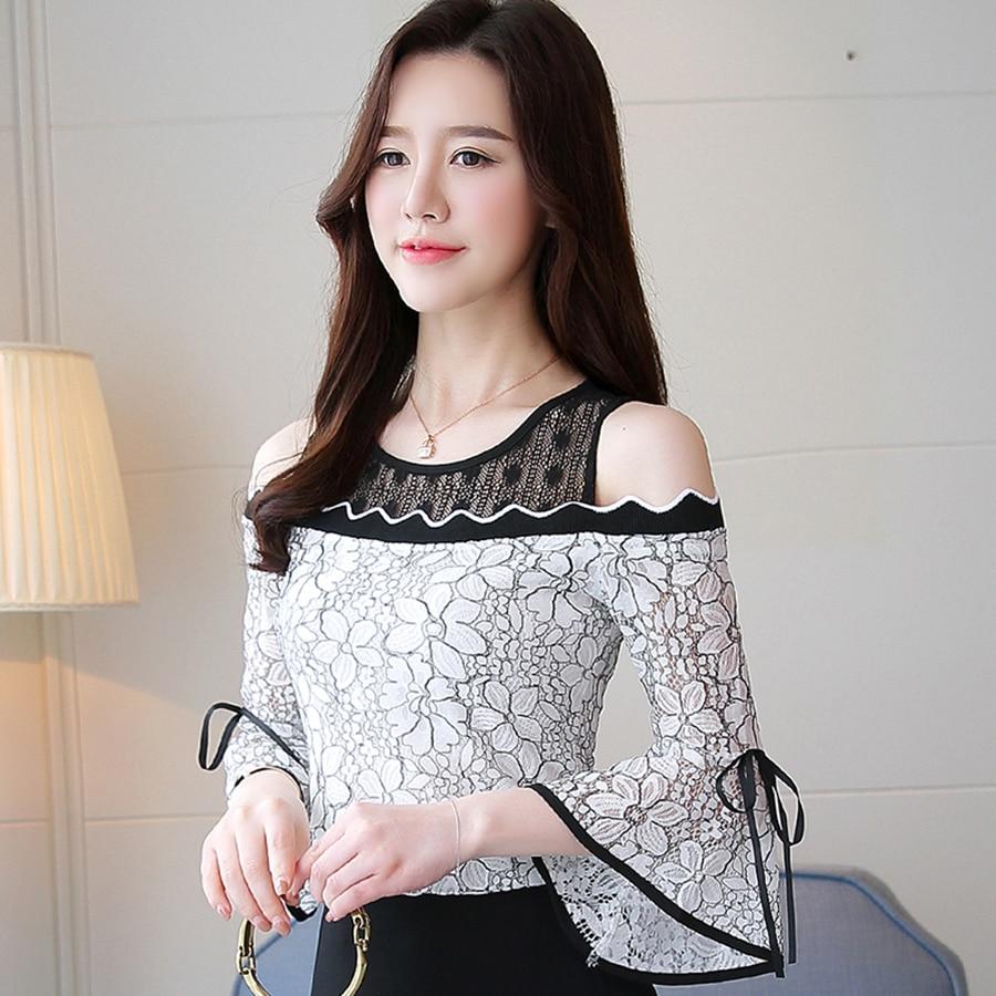 Casual Chic Señoras Gasa Elegante Lace Blusa Dulce blanco Floral De 2018 Ahuecar Blanco Shirts Tops Negro Delgado Verano Sexy Primavera Blusas 0wqf4fgzB