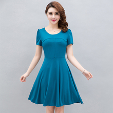 2019 new womens crystal hemp stretch loose dress woman short-sleeved summer fashion solid color Knee Plus Size S-4XL