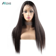 Allove Straight Lace Front Human Hair Wigs Pre Plucked 4X4 Brazilian Lace Front Wigs For Women High Density 180% Remy Hair Wigs