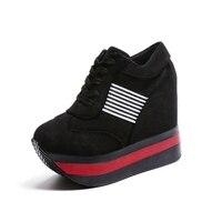 2018 Mulheres Casuais Sapatos de Plataforma Sapatos de Salto Alto Mulher Cunhas Mulheres Sapatos formadores Mocassins Heigh Aumentar