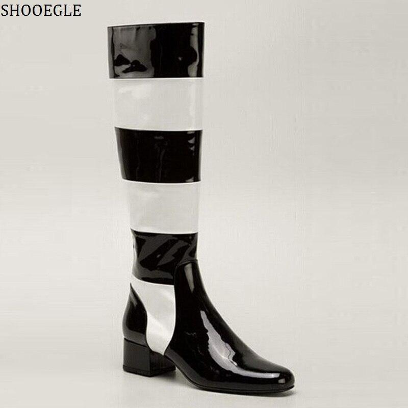 SHOOEGLE в черно белую полоску Лакированная кожа сапоги до колена модные ботинки на молнии сапоги до бедра комфорт Средний Женские Ботинки на каблуке