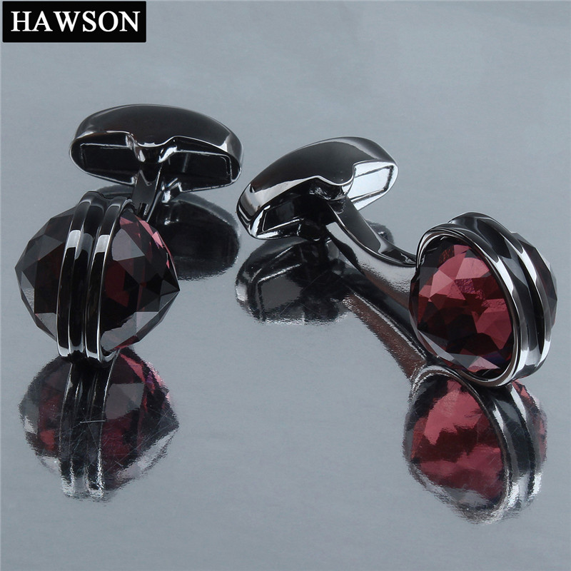 HAWSON Crystal Cufflinks For Shirt Gun Plated Wedding Cuff Links Button With Luxury Gift Box