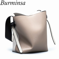 Burminsa Big Bucket Bag Women Hit Color Wide Strap Shopper Bags Designer Handbags High Quality Female PU Leather Shoulder Bags