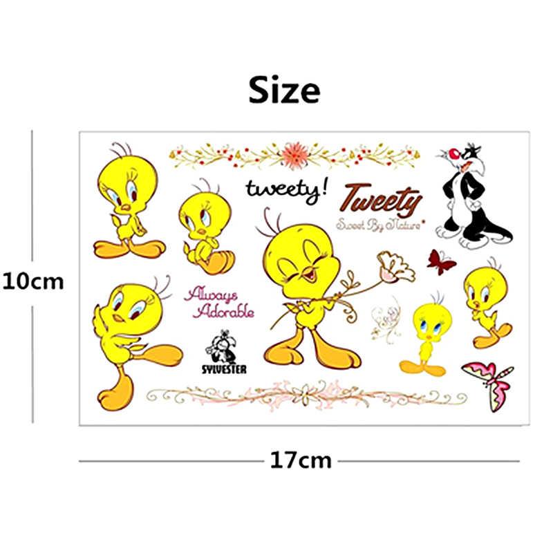 2fe501753c9 SHNAPIGN lindo pájaro Tweety niño arte de cuerpo del tatuaje temporal  tatuaje Flash pegatinas 17*10 cm impermeable Henna estilo etiqueta de la  pared