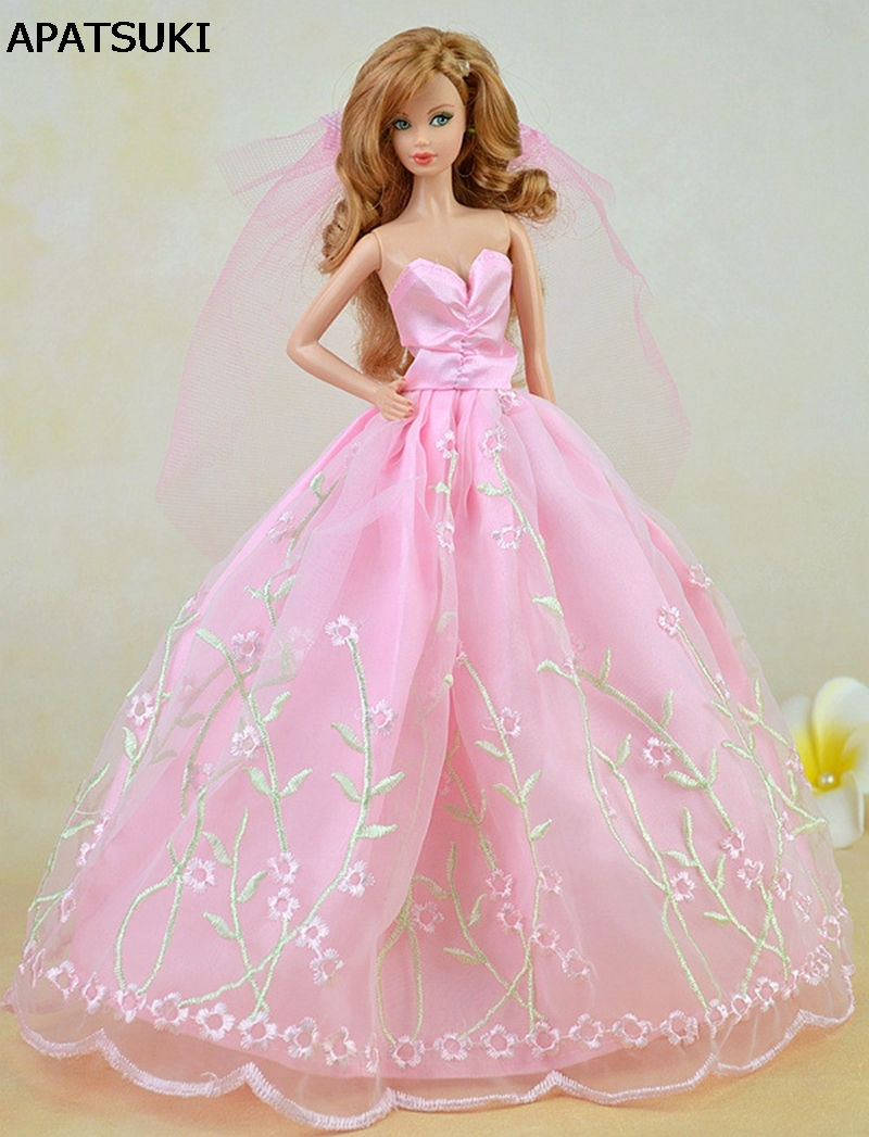 Pink Pretty Wedding Dress For Barbie Dolls Long Dress + Veil Lace ...