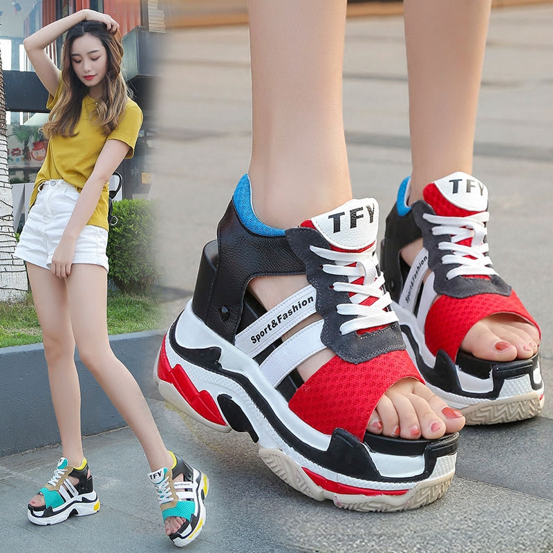 New 2019 Summer Platform Sandals Women Wedges Thick Bottom Casual Woman Shoes 12CM High Heels Comfortable Red Sandals Sneakers in High Heels from Shoes