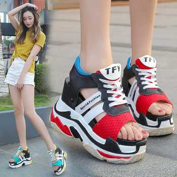 New 2020 Summer Platform Sandals Women Wedges Thick Bottom Casual Woman Shoes 12CM High Heels Comfortable Red Sandals Sneakers