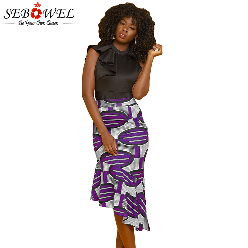 ce3c4c974af16 SEBOWEL 2018 Elegant Fashion Yellow African Print Pencil Midi Skirt Women  Plus size High Waist Stretch Bodycon Party Skirt S-XXL