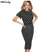 Oxiuly Women Dress Plus Size 4xl 5xl Polka Dot Print Ruffle Sleeve Stretchy Ladies Wear Tunic