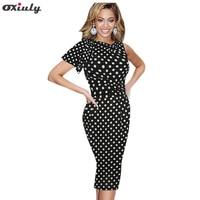 Oxiuly Women Dress Plus Size 4xl 5xl Polka Dot Print Ruffle Sleeve Stretchy Ladies Wear Tunic