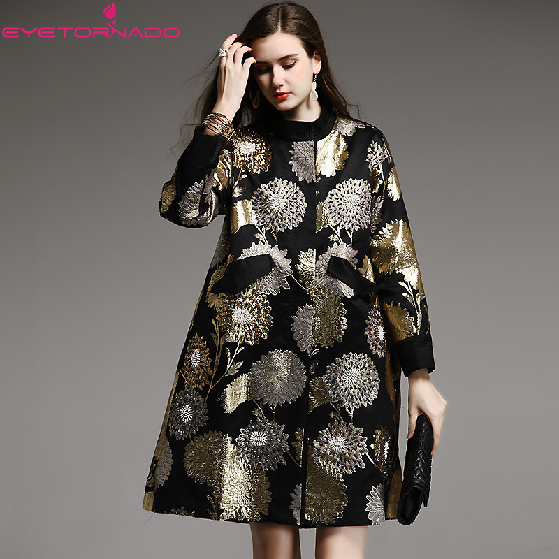 Fashion luxury gold flower embroidery beadings long casual loose skirt   trench   coat women autumn winter large size vintage coat