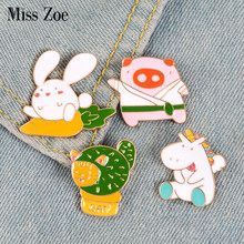 Funny Animals Enamel Pins Rabbit Cat Cactus Pig Horse Brooches Bag Lapel Pin for Clothes Badge Cartoon Fun Jewelry Gift for Kids(China)