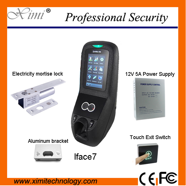 Multibio700/Iface7 face and fingerprint access control system with power supply, electric lock and touch exit button,bracket