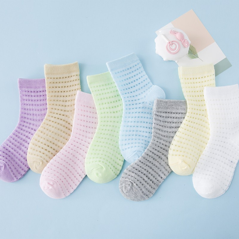 5 Pairs /lot Thin Spring Summer Mesh Baby Socks Cotton Comfortable Children Socks Candy Color Hole Socks 0-2 Years Old