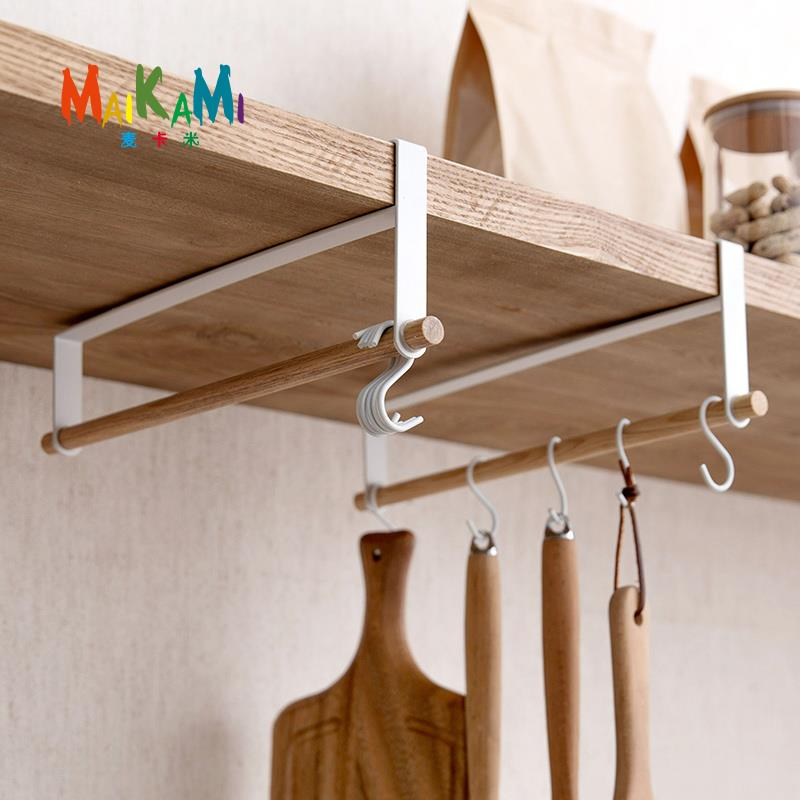 Iron+Wood 5 hooks Kitchen Tissue Holder Hanging Bathroom Toilet Roll Paper Holder Towel Rack Kitchen Cabinet Door Hook Holder