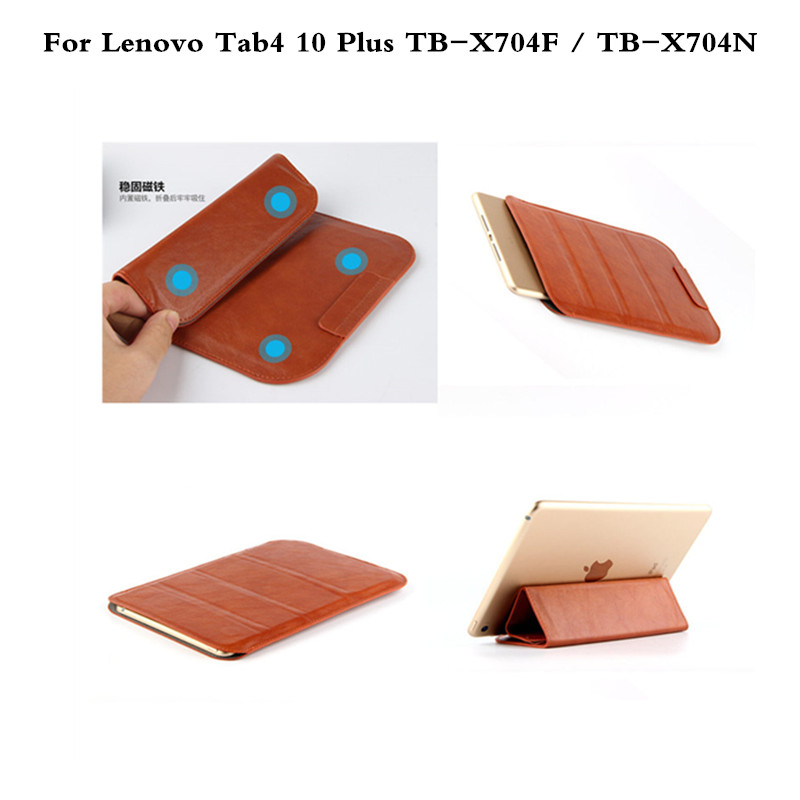 Folding Ultra-thin Shockproof Tablet PC Sleeve Bag Pouch Case Cover For Lenovo Tab4 10 Plus TB-X704F TB-X704N Dropshipping print batman laptop sleeve 7 9 tablet case 7 soft shockproof tablet cover notebook bag for ipad mini 4 case tb 23156