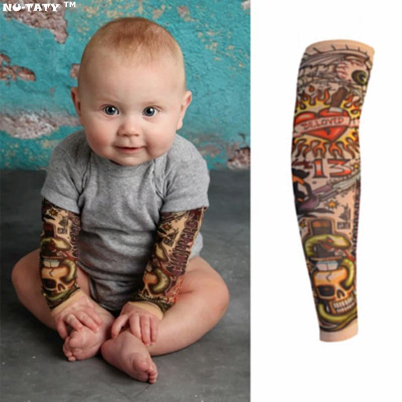 Nu-TATY Hot Kids Fashion Tattoo Sleeve Stockings Temporary Fake Slip On Tattoo Arm Sleeves Kit Colletion Halloween
