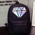Diamante mochila de lona para las mujeres bolsos de escuela adolescentes holográfico plateado diamante sólido hembra hombres laptop venta marca Mochil