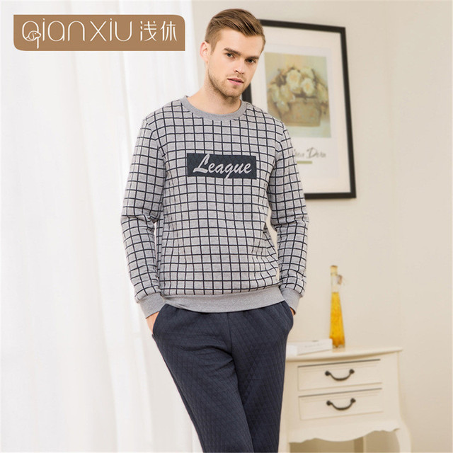 Qianxiu Couples Pajamas pullover Men's Pajamas Pijama Set winter fashion Plaid Clip cotton long-sleeved sleepwear men pyjamas