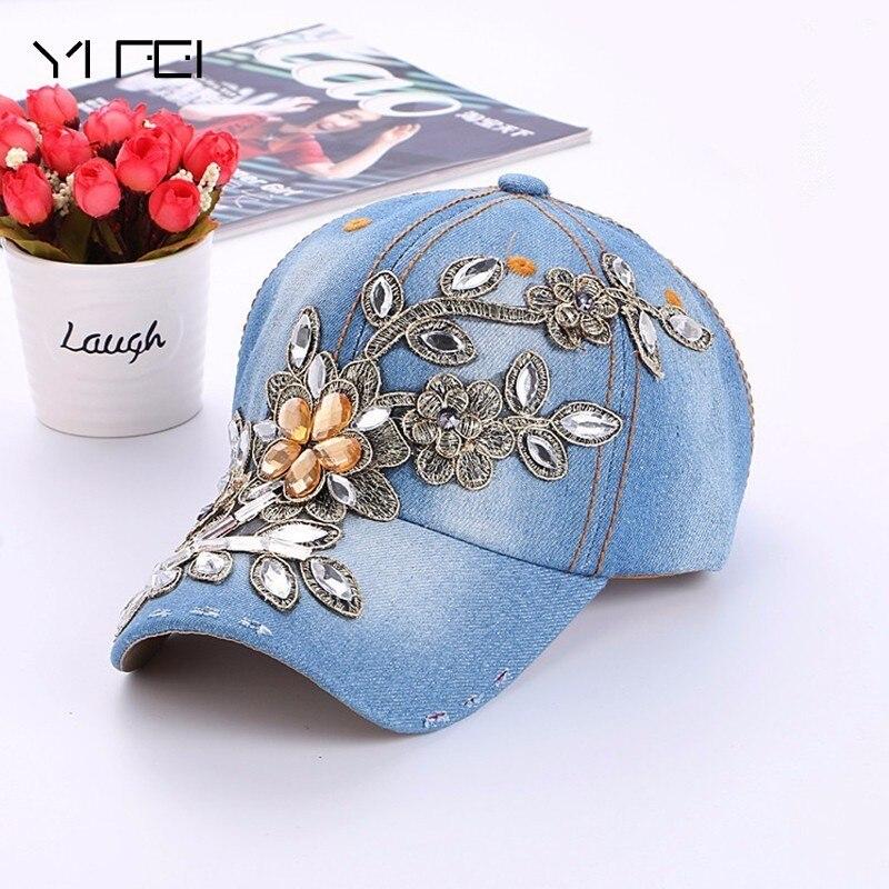 2017 Winter New Women Diamond Flower Baseball Cap Summer Style Lady Jeans Hats Fashion Hip-hop Cap Hot Selling Wholesale
