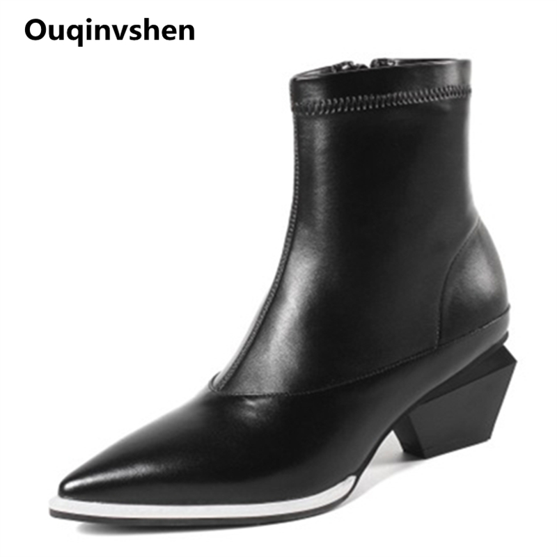 Ouqinvshen Strange Style White Women Winter Shoes Pointed Toe Fashion Party High Heels Boots Zipper Ankle Boots For Women 6CM все цены