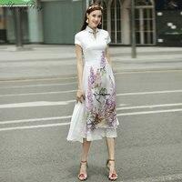 2018 summer vietnam aodai chinese traditional dress qipao long chinese cheongsam dress robe chinoise modern cheongsam Q303