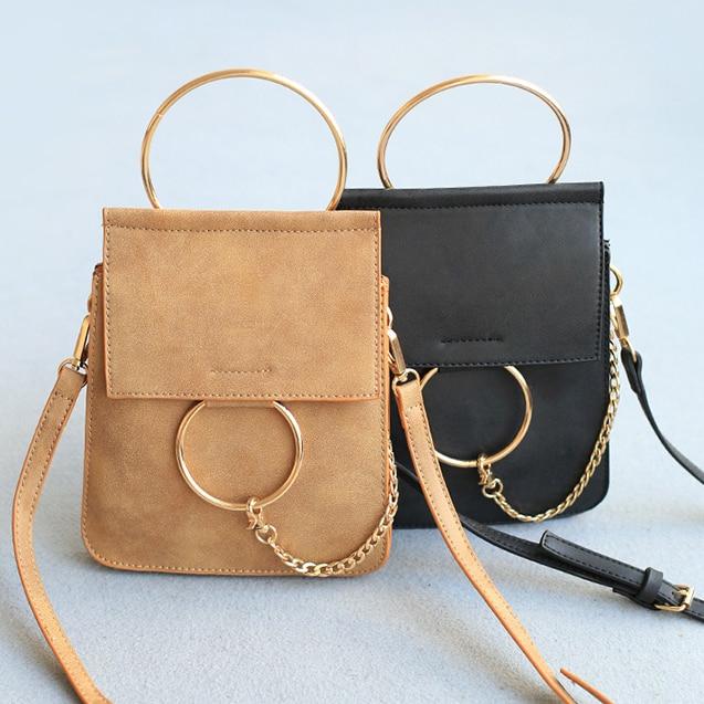 Small Leather Shoulder Bag Wristlet Metal Ring Top Handle ...