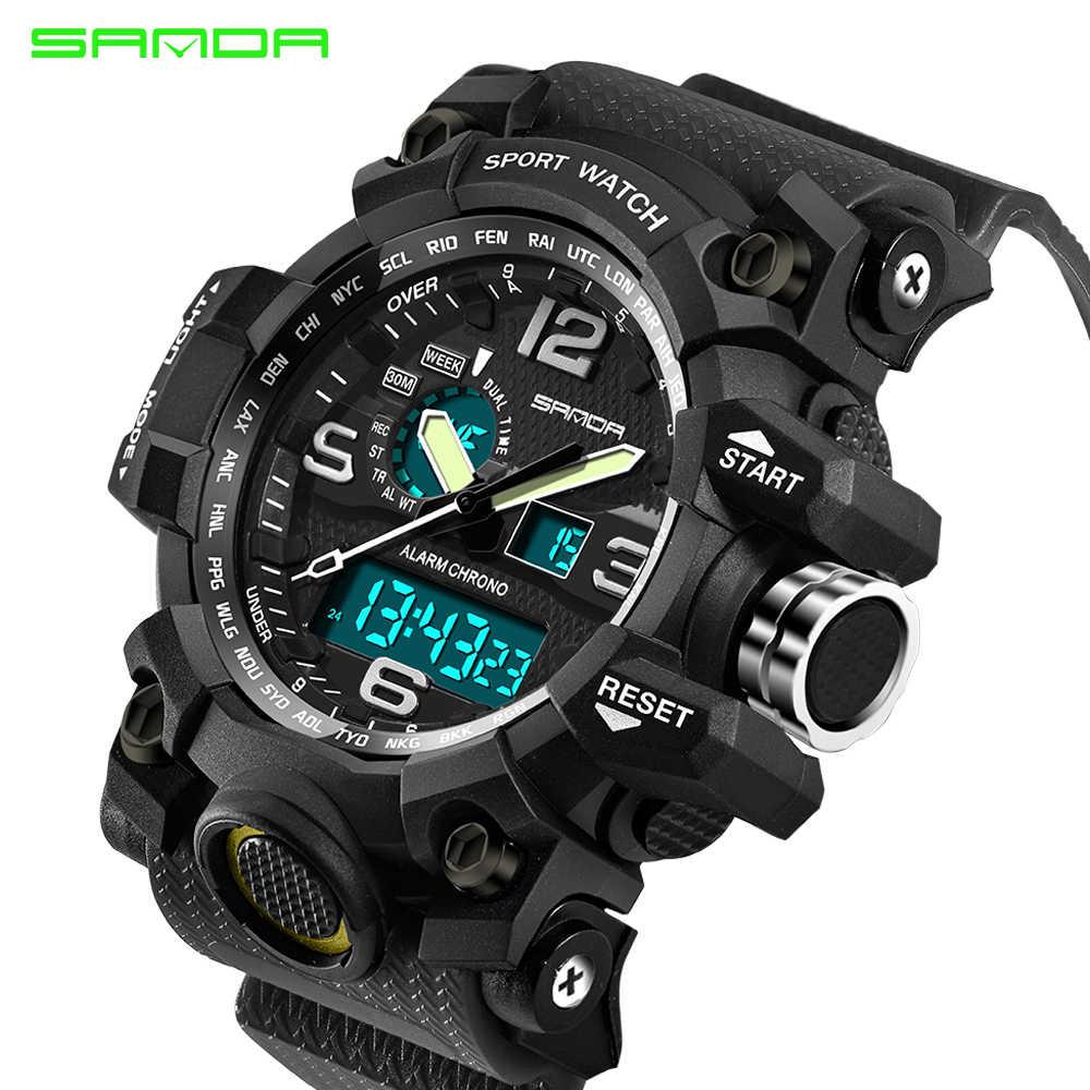 יוקרה למעלה מותג גברים של שעוני ספורט Sanda קוורץ LED שעון אנלוגי איש צבא עמיד למים שעון יד Relogio Masculino חדש