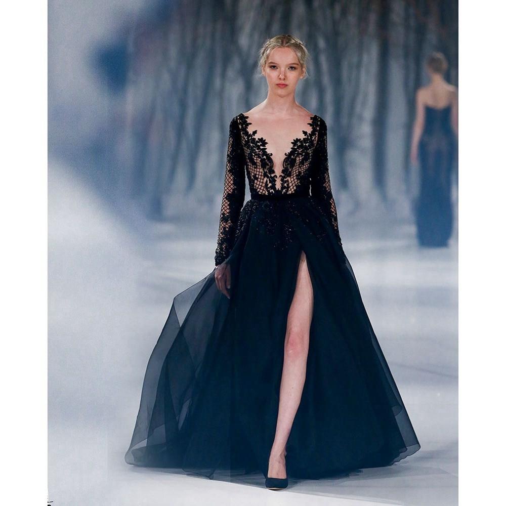 Wedding Formal Evening Dresses popular black formal evening dress buy cheap sexy dresses deep v neck long sleeves split front paolo sebastian