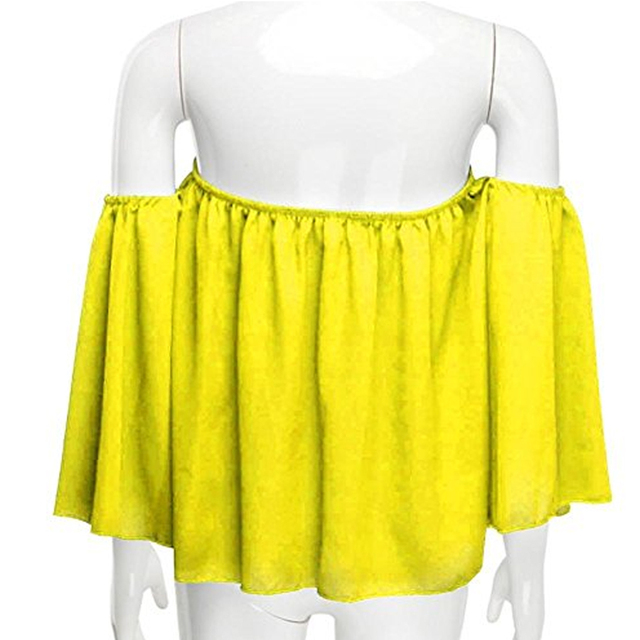 Blusa informal con hombros descubiertos para mujer, camisa sin tirantes de Color puro con mangas abombadas 4