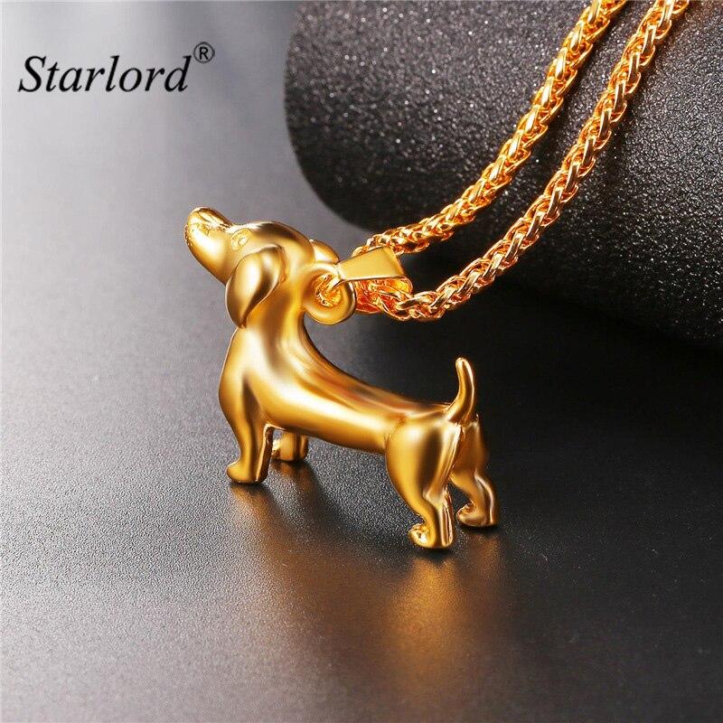 Starlord Animal Animal teckel chien Collier pendentif saucisse chien Collier en acier inoxydable/or couleur Collier de corde pour hommes GP2462