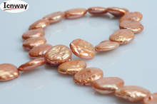 Natural coin champagne freshwater Pearl 10mm For Jewelry Making 15inches DIY necklace bracelet font b earring