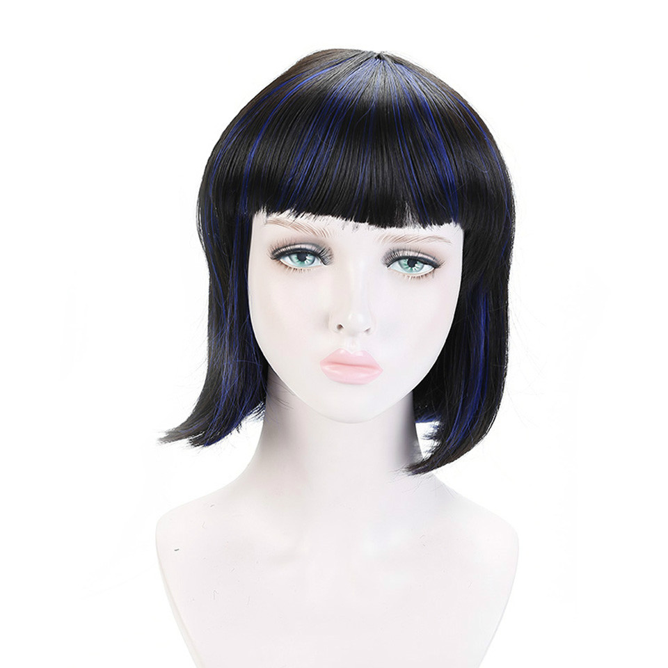 All Short Straight Bob Wig for Women Heat Resistant Synthetic Black Blue Mixed Wigs for African American Fake Hair with Bangs