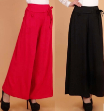 New arrival summer spring linen cotton wide leg women pants casual plus size full length elastic