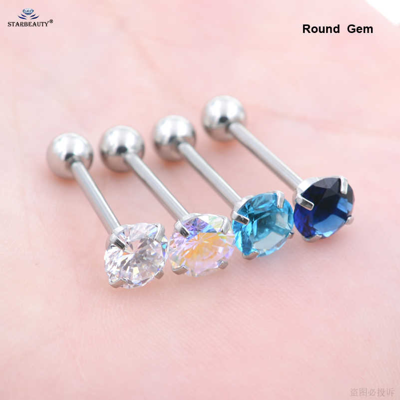 Starbeauty 1pc 1.6x16mm Big Bright Round Gem Tongue Piercing langue Tongue Rings Inlaid Tongpiercing lingua Ear Piercing langue