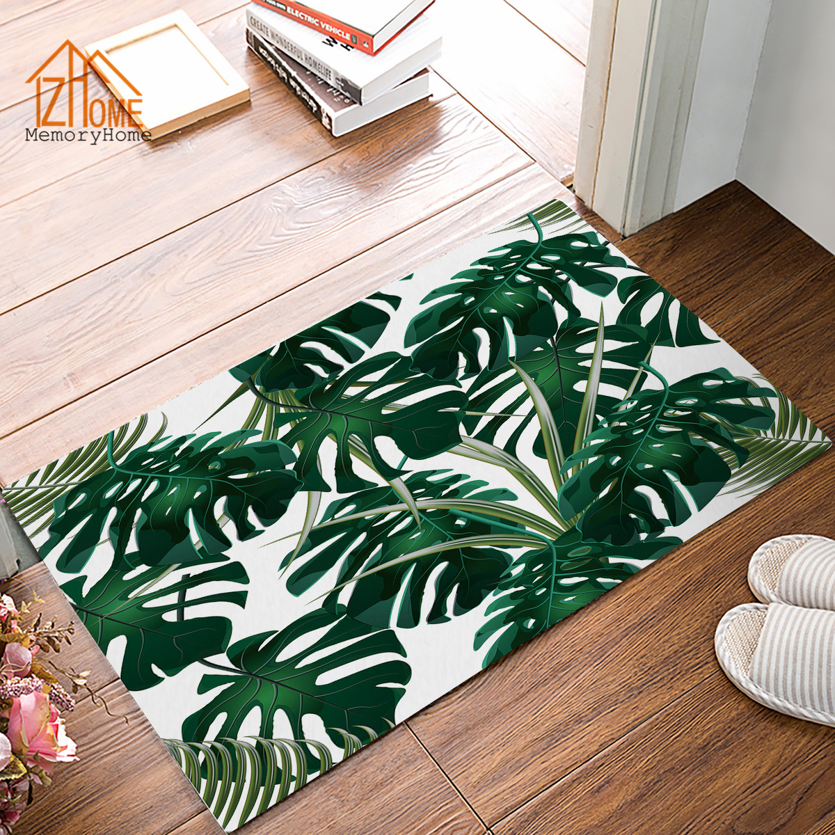 Memory Home Green Tropical Palm Leaves Printed Doormat For