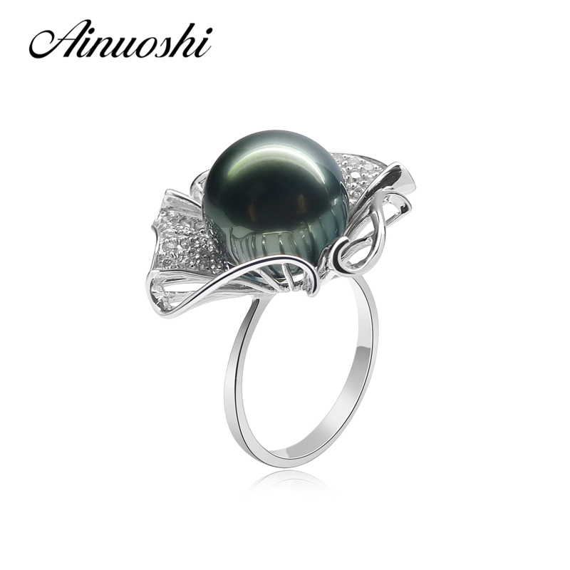 AINUOSHI 925 Sterling Silver Flower Shaped Pearl Ring Wedding Anniversary Black Cultured Pearl Tahiti 11-12mm Round Pearl Ring pearl beaded ring round neck tee