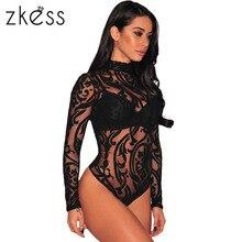 Zkess черный эластичный Водолазка с длинным рукавом Сексуальная Кружево боди 2017 Новинка весны сетка боди для Для женщин Комбинезоны для малышек LC32110