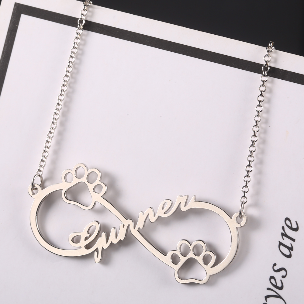 925 Silver Infinity Personalized Name Necklace Women Necklaces & Pendants Dog Footprint Custom Name Necklace Gift Dropshipping  (2)