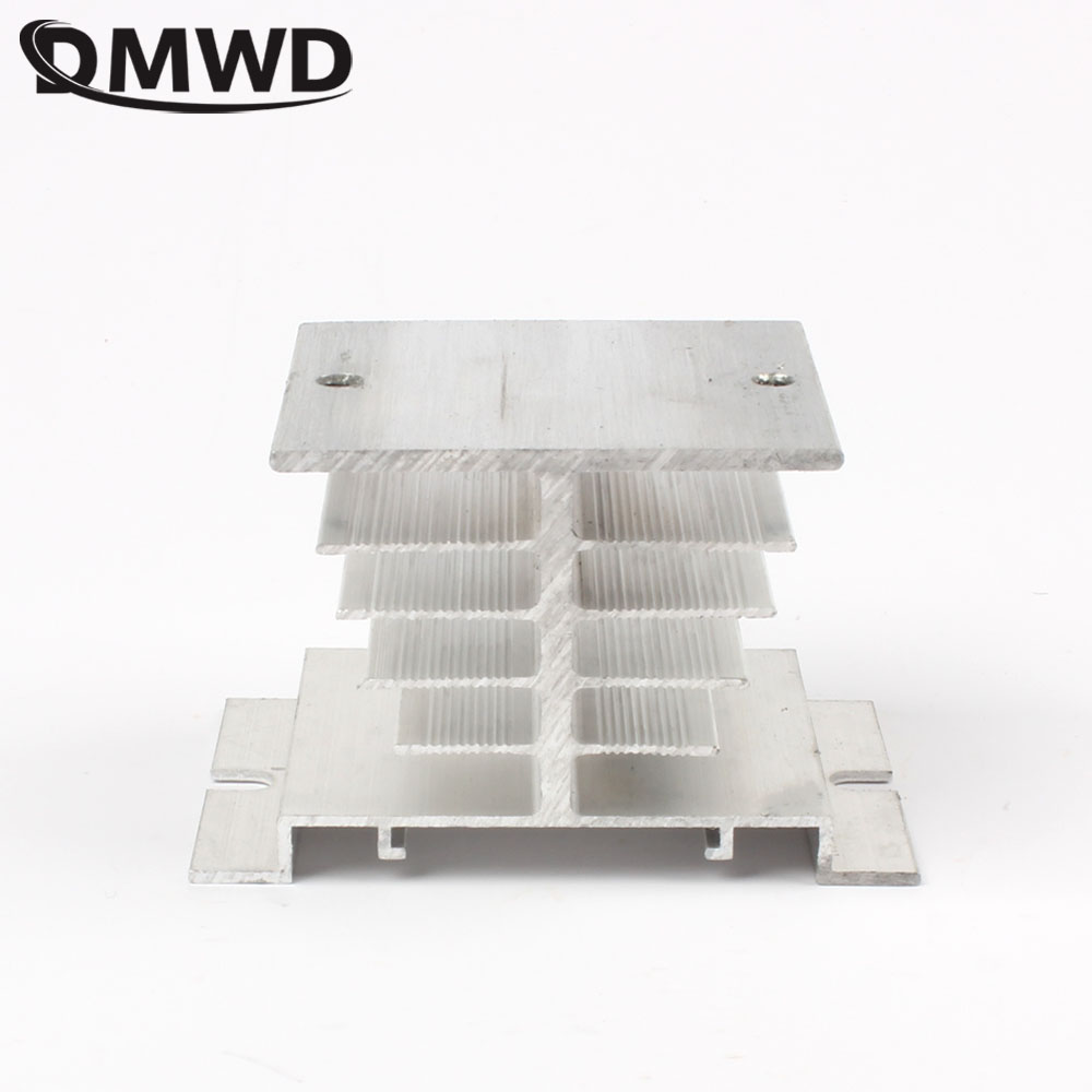 DMWD Solid state radiator I-50, ssr single phase solid state relay, 10A-40A 10A 15A 25A 40A 50X50X80mm Aluminum Heat Sink for ssr 40da single phase solid state relay white silver