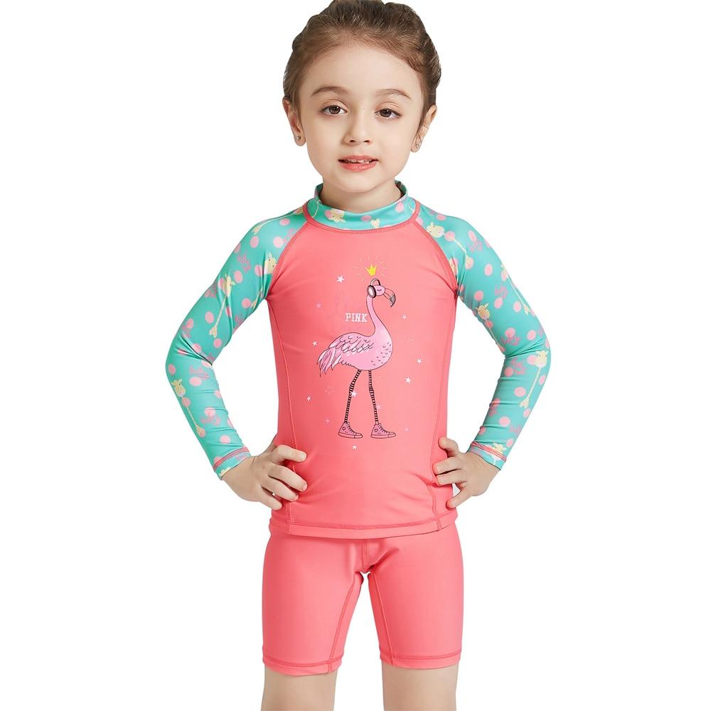 SchöN 3-10 Jahre Kinder Bademode Flamingo Print Langarm Rash Guard Schwimmkleidung Badehose Für Mädchen Uv Block Strand Tragen Badeanzug