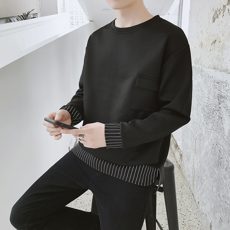 2019 the spring and autumn period and the new fleece adolescent leisure fashion sets men round collar 42