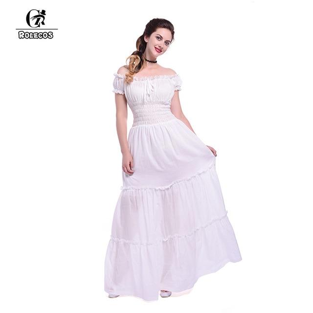 4b8993125b15 ROLECOS Women White Lolita Dress Sexy Off Shoulder Dress Vintage Victorian Long  Dress for Halloween Princess