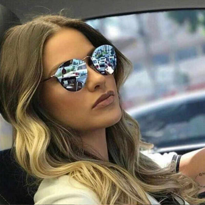 c3fe58306022 ... 2019 New Fashion Rimless Sunglasses Women Brand Designer Mirror Vintage  Round Cat Eye Sunglass Female Lady ...