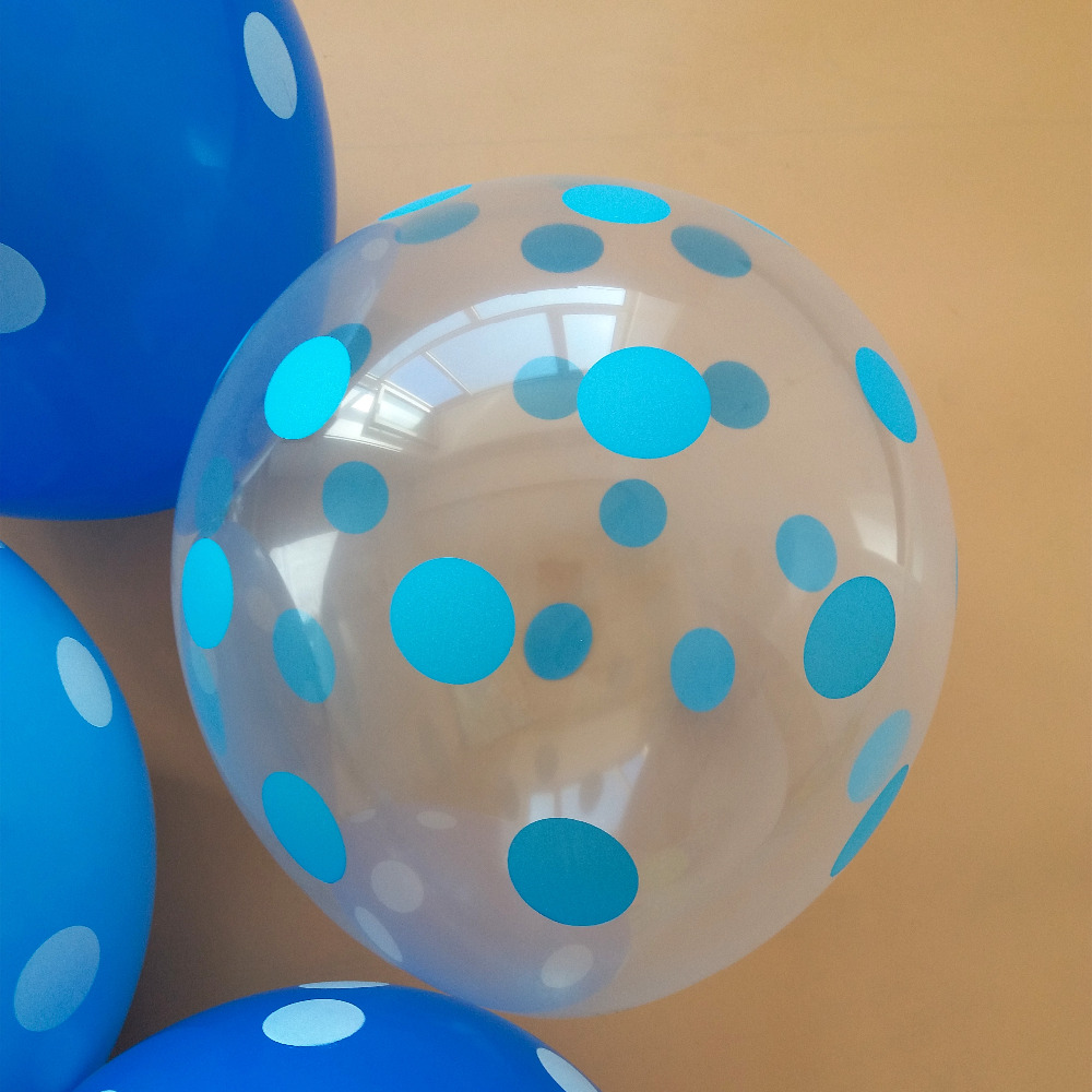 50pcs lot blue polka dots 12 inch 2 8g transparent blue balloon birthday party decoration wedding helium balloons Hot in Ballons Accessories from Home Garden