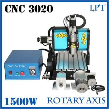 JFT mini CNC 3020 Router 1500w 4 Axis Parallel Port Water Cooling  Wood Carving Machine