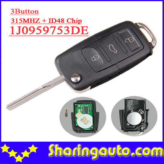 Free shipping (5 pieces) 1j0 959 753 DE  1j0959753DE  3 button Flip remote key with 48 chip 315MHZ for Vw bruno banani made for woman w edt spr 40 мл