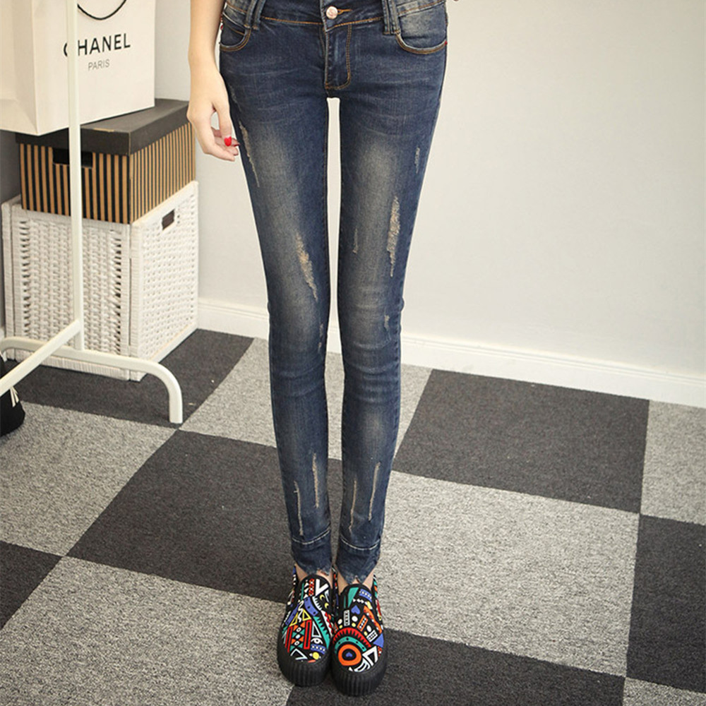 Spring New Fashion Worn Pencil Jeans Woman High Waist Casual Elastic Full Length Zipper Slim Fit Skinny Women Large Size Pants 2017 new fashion women elastic waist high waist skinny stretch jeans female spring jeans pencil pants plus size full length sexy
