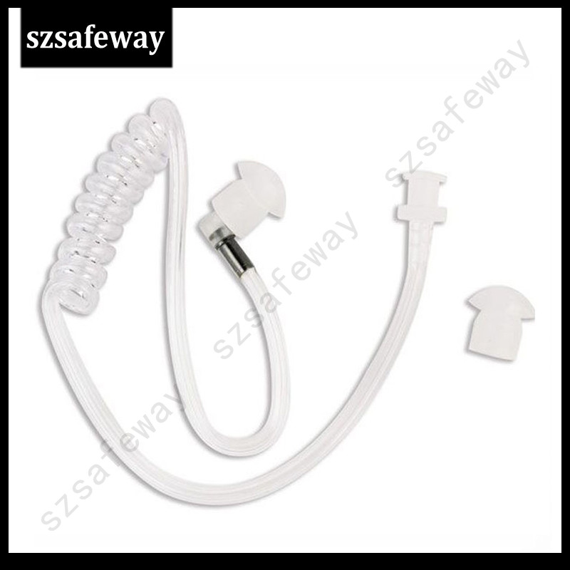 100PCS/lot Detachable Acoustic Tube Clear Color With Earbuds For Two Way Radio Surveillance Kit Earphone Headset